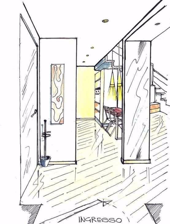 Ingresso di soggiorno open space 15 mq: disegno 3D