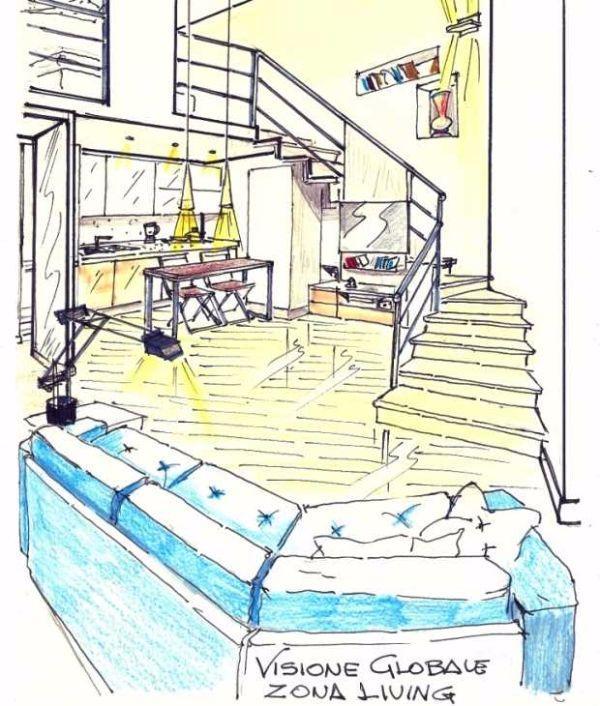 Disegno prospettico soggiorno angolo cottura 15 mq