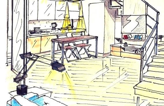 Progetto soggiorno e cucina in 15 mq