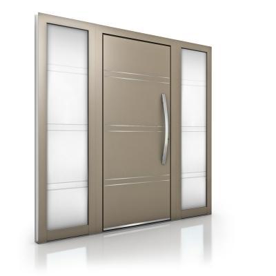 Internorm - portoncino d'ingresso in alluminio at410 con elementi laterali in vetro sabbiato