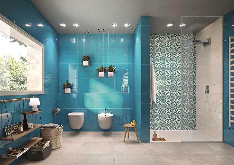 Bagno Moderno Piastrelle Blu