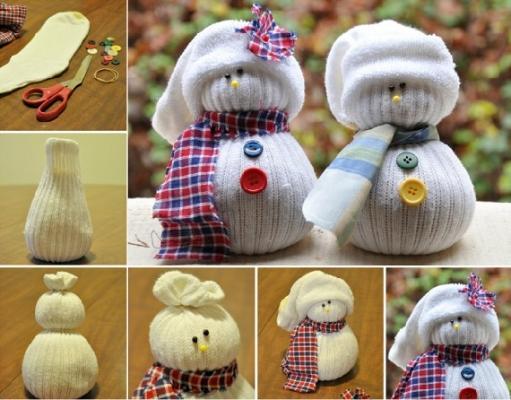 Lavoretti di Natale: pupazzi di neve con calzini