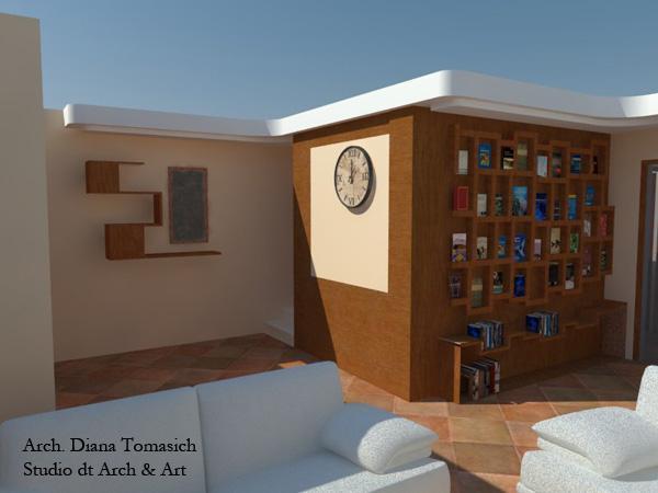 Progetto per la realizzazione di un ripostiglio con libreria esterna