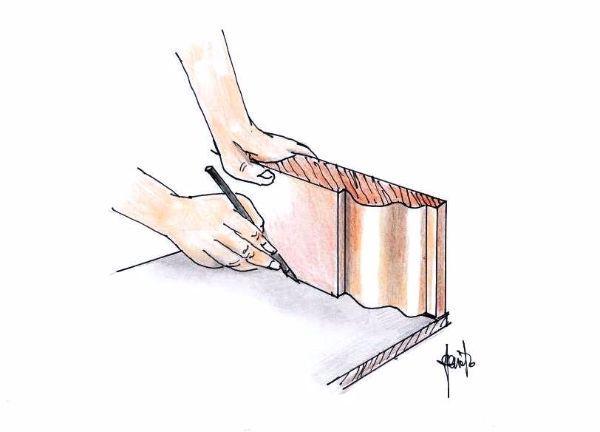 Conformazione dell'angolo retto tra i profili in legno