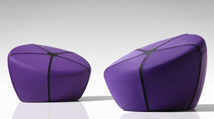Ultra Violet colore Pantone Pouf Modern