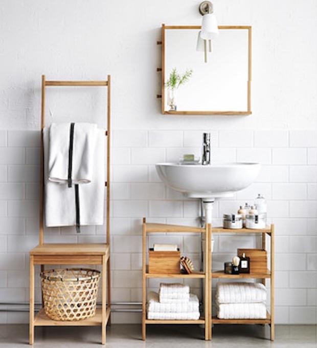 Sedia e portasciugamani: una soluzione salvaspazio, da Ikea