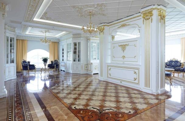 Progetto ingresso villa stile classico for Mobili lussuosi