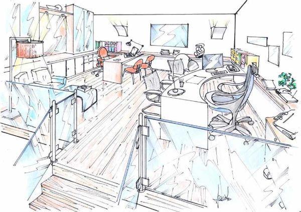 Progetto per un ufficio allestito sul soppalco di casa