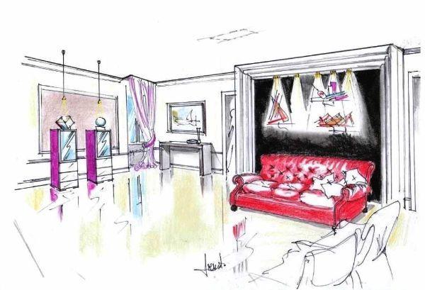 Il salotto moderno: disegno vista prospettica