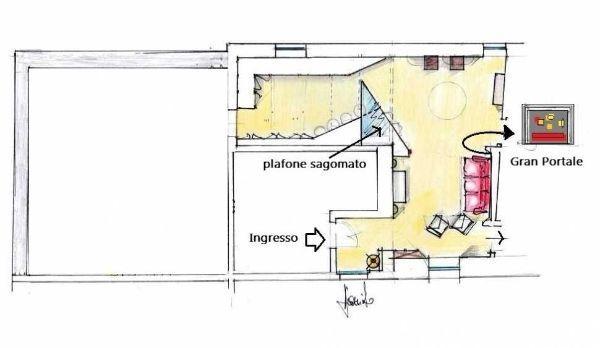 Pianta di progetto arredata per soggiorno moderno