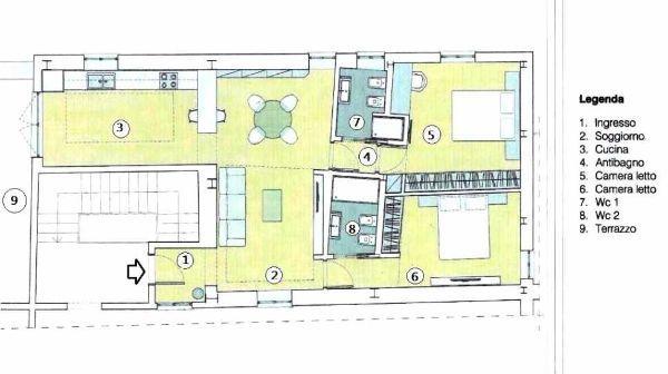 Zona living nel contesto di immobile  da arredare: pianta stato dei luoghi