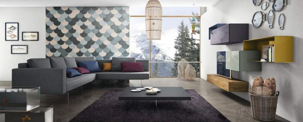 Progetto d 39 arredo living stile contemporaneo for Mobili lago outlet