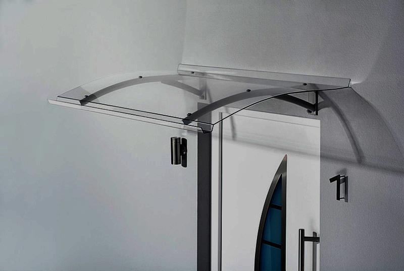 Scudo pensilina alluminio policarbonato trasparente
