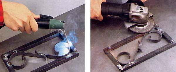 Attacco dei pezzi per la costruzione della fioriera in ferro