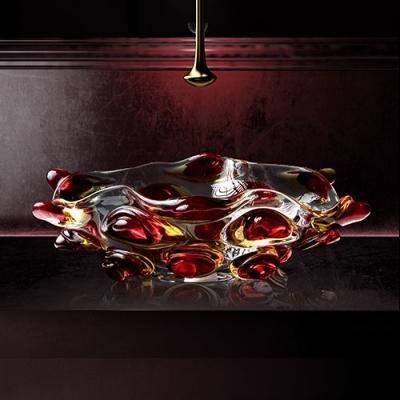 Lavabo in vetro Murano rosso Glassdesign