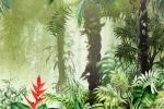 Carta da parati tropicale Inkiostro Bianco