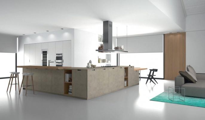 Cucina minimal Antares: isola angolare