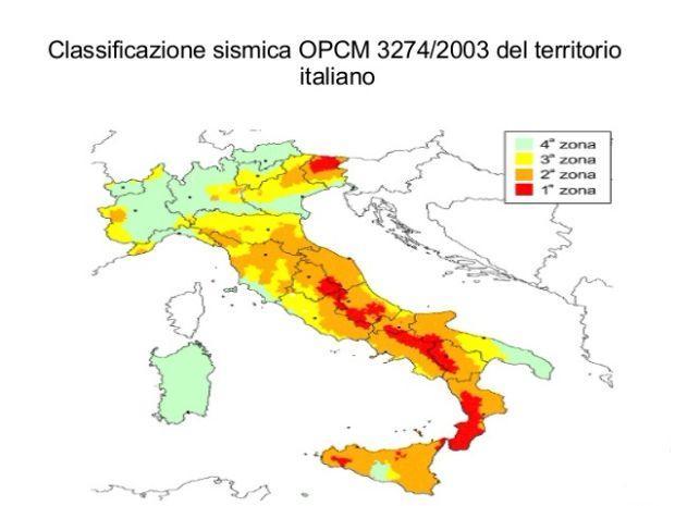 Zone sismiche per le quali è riconosciuto il Sismabonus