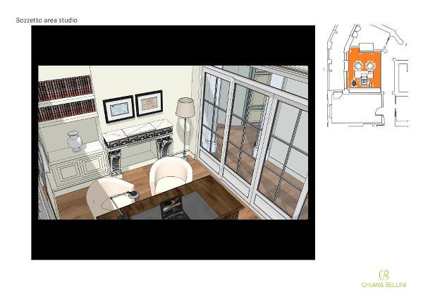 Fusione appartamenti: uno studio in una delle due aree giorno