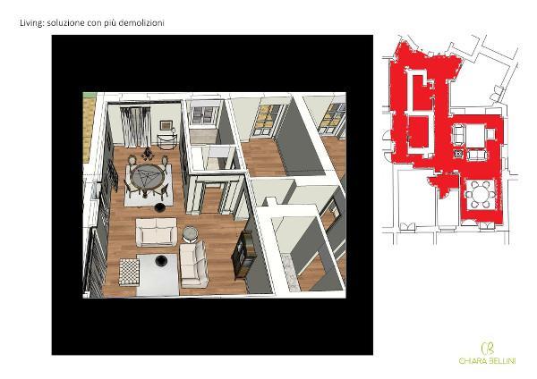 Come unire due appartamenti - living open space