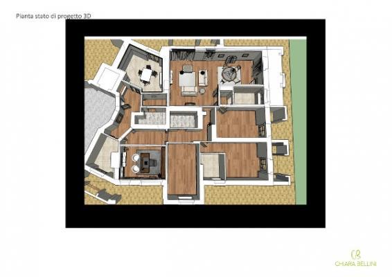 Accorpare due appartamenti - bozzetti 3d per non sbagliare