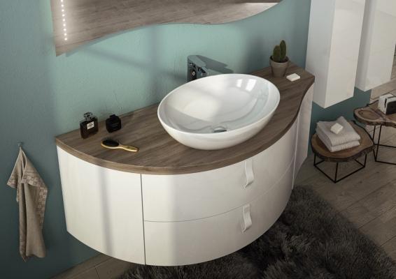 Mobili da bagno con top in legno