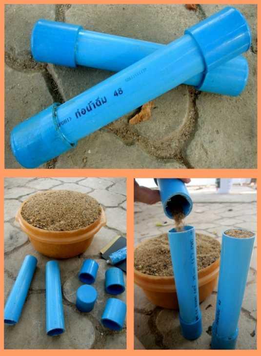 Manubri fai da te con tubi in pvc, da thehomeaway.wordpress.com