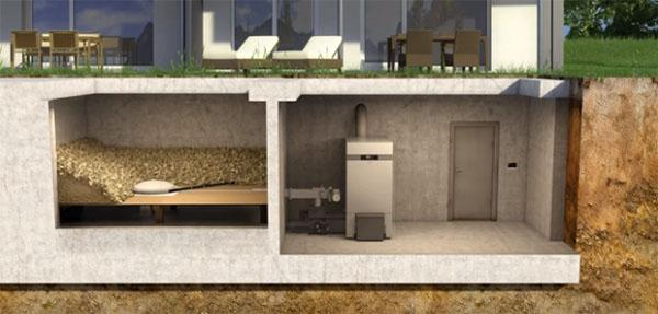 Caldaia a pellet Vitoligno 300-H di Viessmann: centrale termica e deposito del pellet