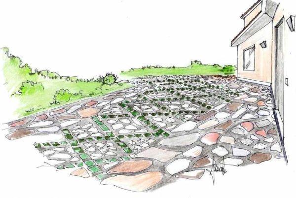 Disegno pavimentazione esterna a lastre colorate in pietra naturale