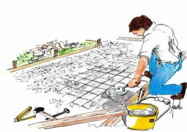 Rete e malta per costruire il pavimento esterno in pietra