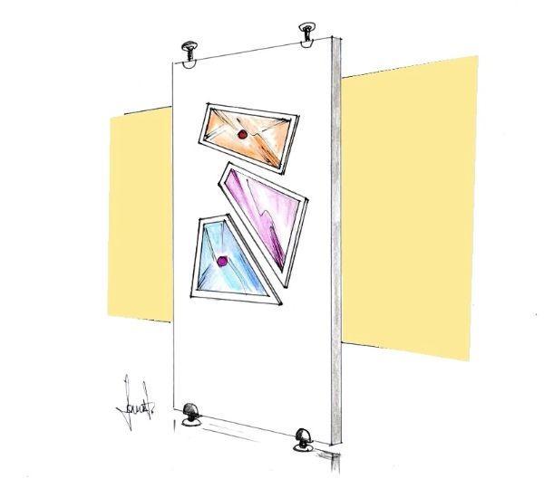 Pannello con vetri colorati: interparete decorativa