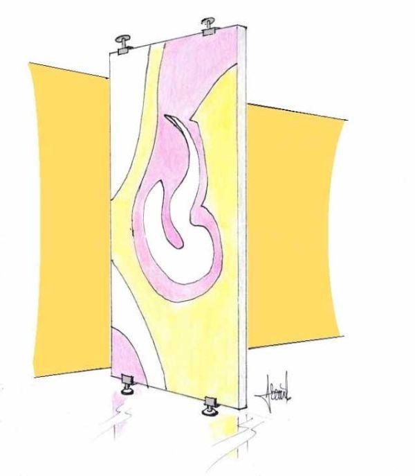 Pannello decorativo come interparete tra gli ambienti