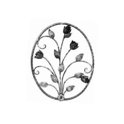 Arteferro decoro ovale con motivo floreale per cancello