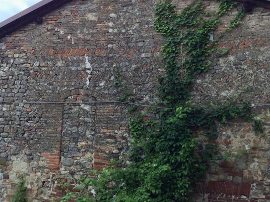 Casa medievale con muratura a spina di pesce