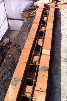 Barre di armatura di un cordolo in muratura armata, impresa edile Fazio Vincenzo