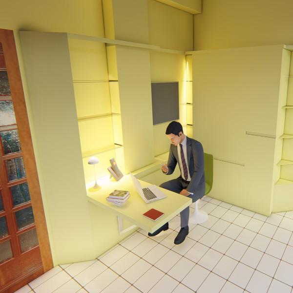 Particolare angolo studio a scomparsa per organizzare lo spazio