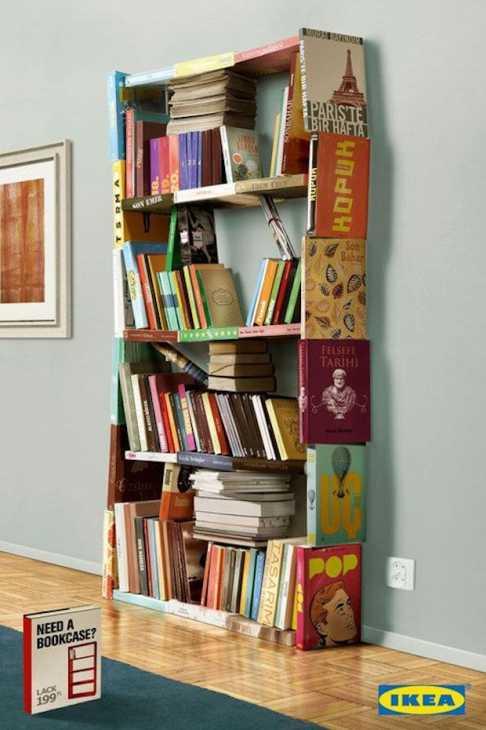 Libreria fatta di libri, da Ikea