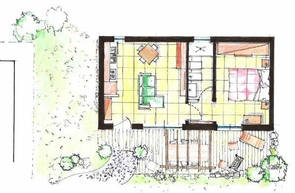 Dependance in giardino: pianta di progetto