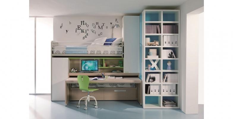 Cameretta per bambini con soppalco e libreria Dielle