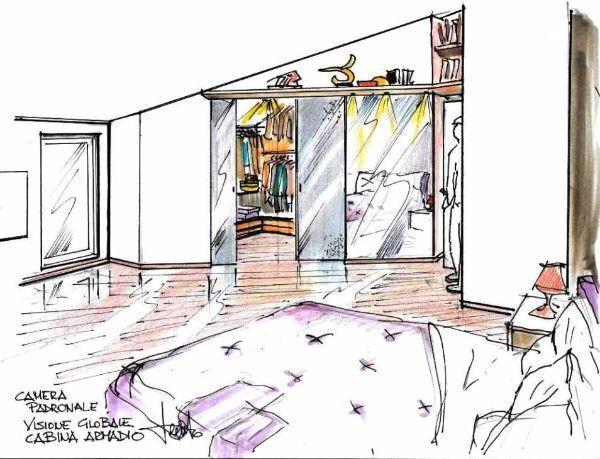 Cabina armadio in camera mansardata: disegno prospettico