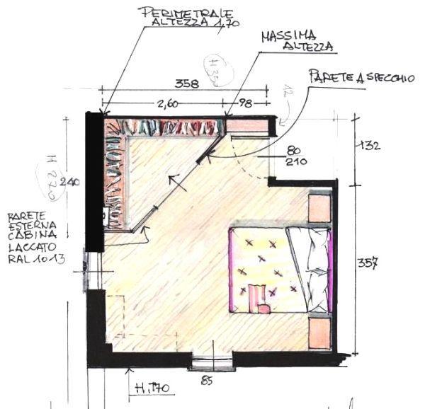 Cabina armadio a superficie triangolare, in mansarda