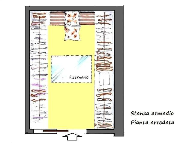 Stanza armadio in mansarda: vista in pianta
