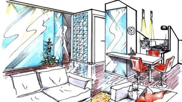 Idea progettuale per l'arredo su misura di un appartamento mansardato