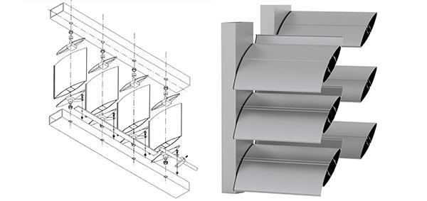 Pale di alluminio dei frangisole OverSun di AlcaSerramenti