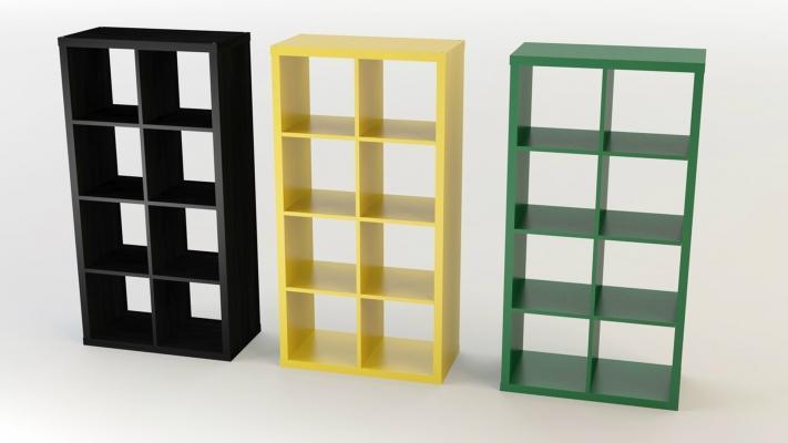 Gli scaffali colorati possono diventare pareti divisorie, da Ikea