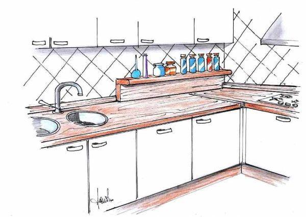 Piano lavoro cucina: idea realizzabile in fai da te