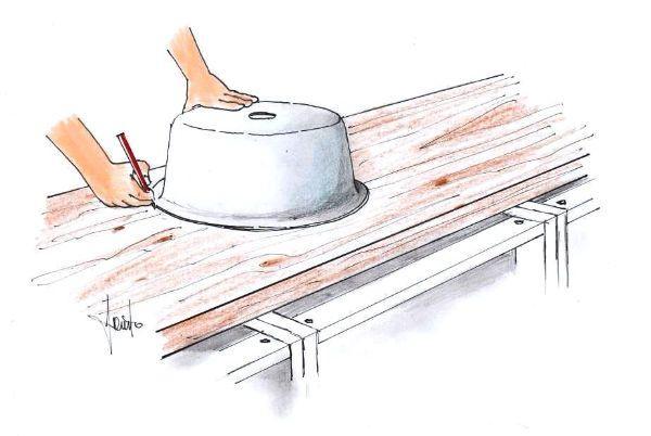 Top cucina: come tracciare la sagoma per l'incasso del lavello