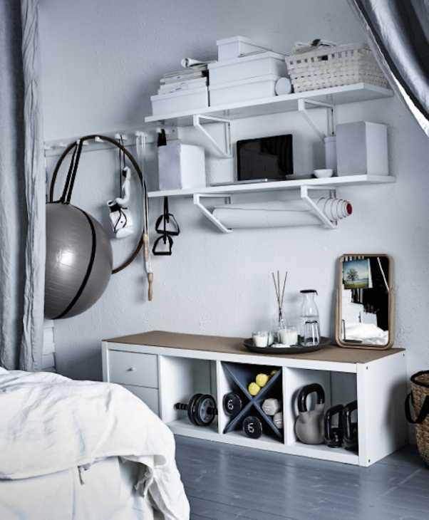 Un angolo fitness organizzato e nascosto, da Ikea