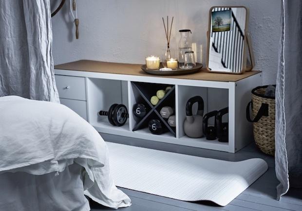 Scaffale per riporre gli attrezzi fitness, da Ikea