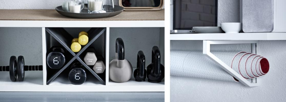 Staffe per riporre il tappetino e uno scaffale per organizzare i pesi, da Ikea